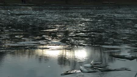 disko : Ice and a pond with a solar flare HD Stock Footage