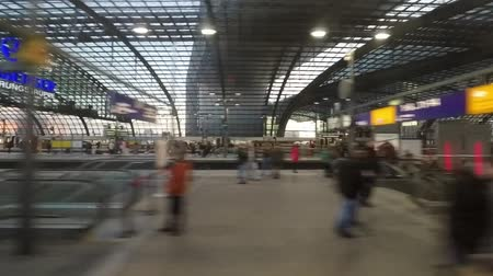 hall : big train station drive by - berlin central station