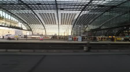 hall : big train station driving through Berlin central station
