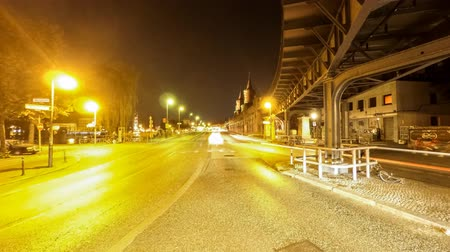 oberbaum : City traffic at night time lapse Stock Footage
