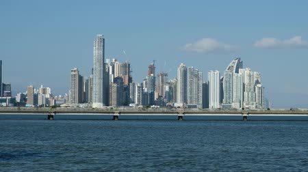 américa central : Panama City, Panama - March 2018: Skyscraper buildings and modern city Panama City skyline