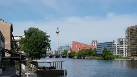Berlin Skyline on a summer day - river Spree and TV tower