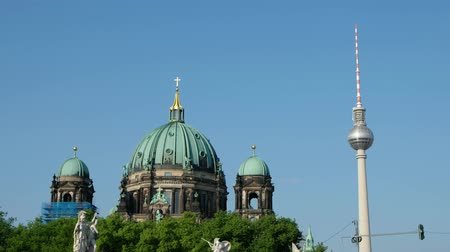 Berlin landmarks - Tv tower and Berlin Cathedral Stock Footage