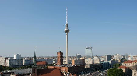 Berlin city skyline - tv tower, Alexanderplatz, Berlin, Germany Stock Footage