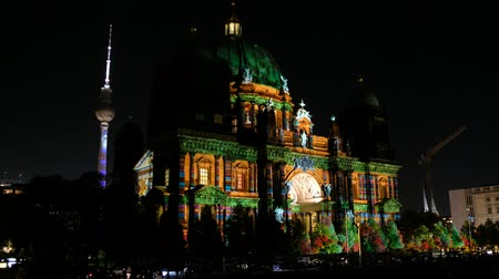 Illuminated landmark (Berlin Cathedral) at night during Berlin Stock Footage