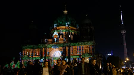 Illuminated landmark (Berlin Cathedral) at night during Berlin Lights aka Festival of Lights Stock Footage