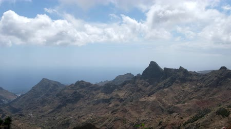 mountain ridge, forest mountain landscape with ocean view and blue sky, Anaga, Tenerife