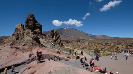 Tenerife, Canary Islands, Spain - September, 2018: People at Roque Cinchado Rock at Roques De Garcia Parque Nacional Del Teide Tenerife Spain