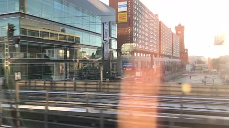 chegada : Driving by people on train station (Alexanderplatz) railroad platform in Berlin city