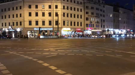 nearly : Time lapse of Berlin city traffic on a crossroad at night at Rosenthaler