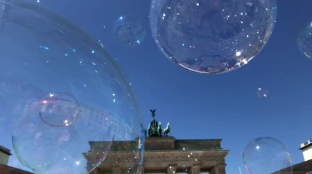 Brandenburg Gate  Brandenburg Gate and Soap bubbles on blue Sky, Berlin