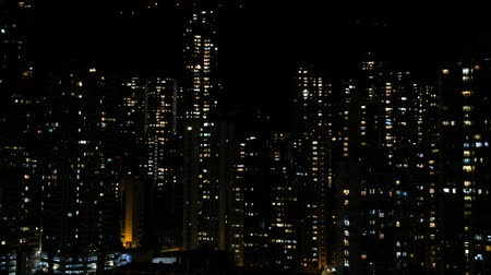 Skyscraper city skyline at night, Hong Kong, China