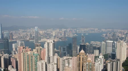 central business district : Aerial skyline of HongKong, view from Victoria Peak on a sunny day Stock Footage