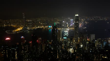 icc : HongKong, China - November, 2019: Skyline of Hong Kong city at night