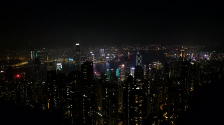 icc : HongKong, China - November, 2019: Skyline of Hong Kong city at night, viwew f