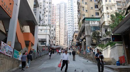 mongkok : People walking on street in Hong Kong city