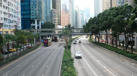 életmód : Car, bus and taxi traffic on highway road in Hong Kong