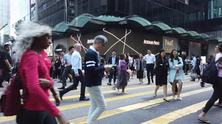 Time lapse of business people on crowded street in Hong Kong, Central district Stock Footage