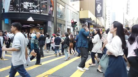 nearly : Time lapse of business people on crowded street in Hong Kong, Central distric
