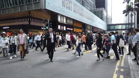 public worker : Time lapse of business people on crowded street in Hong Kong, Central district Stock Footage