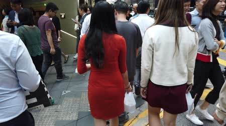 public worker : Business people crossing crowded street in Hong Kong, Central district