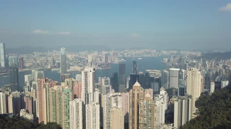 Skyline de Hong Kong, vista desde el Pico Victoria Archivo de Video