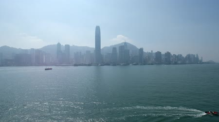City skyline and coast view of Hong Kong Island business district Stock Footage