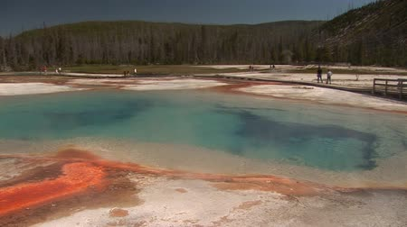 erupt : Rainbow Pool in Yellowstone National Park Stock Footage