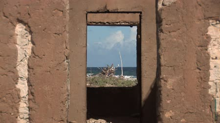 deteriorated : Old ruin and driftwood Stock Footage