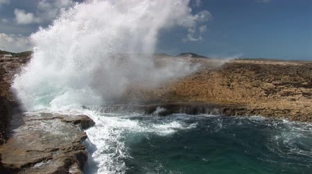 mare agitato : Blow Hole su Cura?ao Filmati Stock