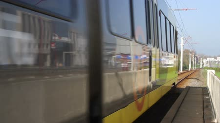 Tram leaving a Dutch station