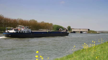 Barge boat on the Rhine in The Netherlands Stok Video