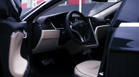 tesla model s : ODESSA, UKRAINE - DECEMBER 06, 2017: Tesla Model S all-electric, car interior with open doors