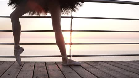 baixo ângulo : Close up of a beautiful ballerinas legs. A girl stretches her leg muscles, bending her feet. In pointe shoes. Morning on the seaside