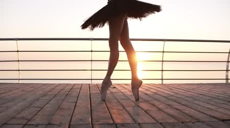 milost : Close up of an elegant ballet dancers legs, stepping on a wooden embankment on tip toes in pointes. Black ballet tutu. Beautiful scene with a morning sun rising in perspective