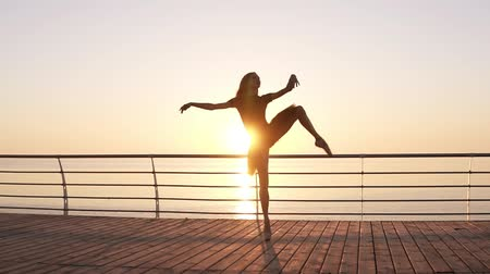 tüt : Attractive ballerina practices in stretching. Doing classic ballet moves. Long haired young girl in dark tutu. Embankment near the sea or ocean. Sun shines. Slow motion