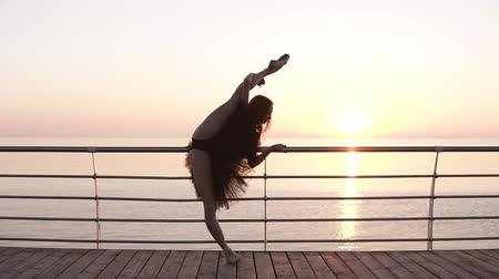 baixo ângulo : A ballerina is standing near the banister on the promenade. She is stretching, bending her legs in a vertical twine. Sun shines. Beautiful morning marine view