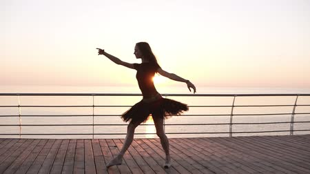 tüt : Young stunning ballerina on a wooden seafront doing ballet pas. Morning. Girl wearing dark tutu. Slow motion
