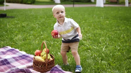 pléd : Slow motion of a blondy boy running on a green grass. Takes a red apple from picnic basket and gives it to his loving mother. Picnic outside. Spring time