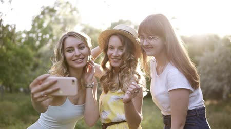 drie : Group of three beautiful girls friends making picnic outdoor. They take selfie photo from smartphone. Sun shines on the background