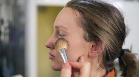 contornos : Side view of a young, pretty female model. Make up process. Artist putting some transparent, shiny rouge on womans cheek using a brush Vídeos