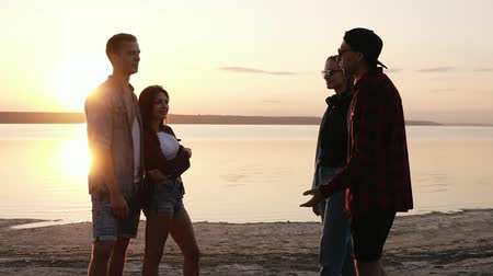 зависать : Group of friends hanging together on the beach. Sunset above the water. Beautiful two couples. Talking, gesturing. Friendship concept Стоковые видеозаписи