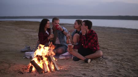 harcama : Carefree young friends spending time together And drinking beer by bonefire on the beach as the sun begins to set. Talking, discussing something