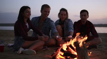 Young and cheerful friends sitting on the wild beach and fry marshmallows near bonfire. They look happy and smiling. Evening time Vídeos