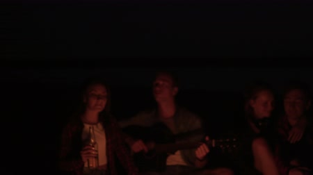 Front view of two couple are having time together on the beach near the bonfire. Singing songs, playing guitar, drinking, lauging. Shaking footage Vídeos