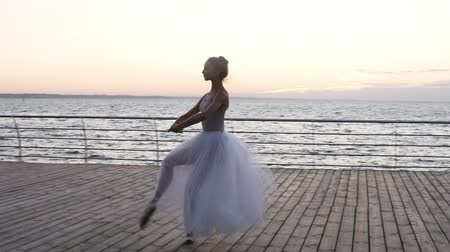 dances : Young beautiful ballerina dressed in white tutu dancing gracefully on her pointe ballet shoes. Jumping, performing classic pas on a wooden floor. Outdoors, seaside