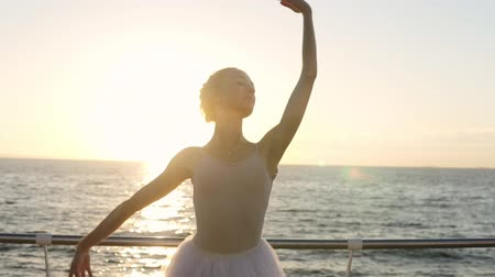 набережная : Beautiful, slender female ballet dancer training near the sea or ocean. Gorgeous woman dances with sun rising on the background