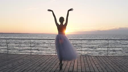 набережная : Young and beautiful ballerina dances gracefully on her pointe ballet shoes, Shes spinning. Shes wearing white tutu dress. Footage from the back, dancing on a wooden floor. Seaside Стоковые видеозаписи
