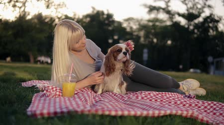 acariciando : Blonde woman in casual caressing her dog while lying on a plaid in the city park on the plaid. Front view