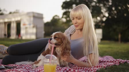 spanyel : Close up view of a blonde long haired woman laying on a ground in the park on a plaid litter and caress her small dog. Blurred background, plastic cup with drink on the foreground